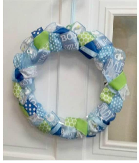 Ribbon wreath baby shower decor baby shower wreath gender for Baby boy hospital door decoration