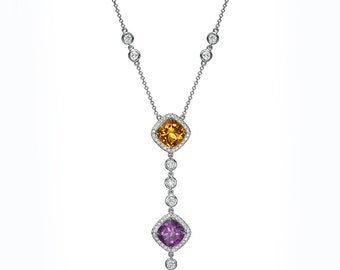 18K White gold necklace set with gemstones and diamonds