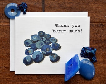 Blank Note Card Set, Thank You Card Set, Set of 5, Blueberry Pun, Thank You Berry Much