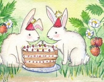 Bunny Card-Animal Card-Animal Birthday Card-Bunny Birthday Card-Woodland Animal Card