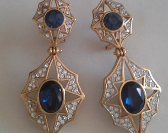 Elegant long earrings, with stars, white, blue and 18k gold plated. Long drop earrings. Unused