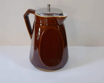 Beautiful teapot ceramic Saint Uze, painted Brown with its lid filter stainless