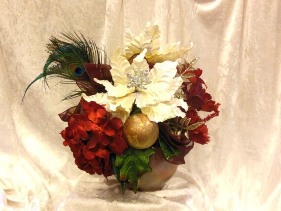 Christmas Fabulosity Silk Floral in Deep Red & White w Peacocks and Frosted Cherries in Hand Painted Ceramic Bowl
