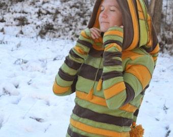Elf Hoodie Sweater, Upcycled clothing, Homemade, ooak
