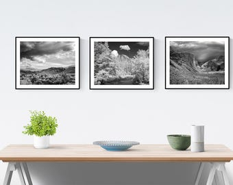Yosemite Photos, Yosemite National Park Scenic Collection, Landscape Photography, Black and White Print Set, Wall Art, Poster