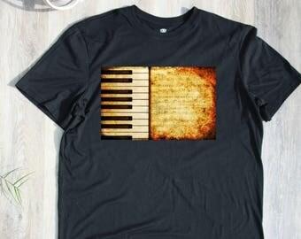 Piano Keys T-shirt T Shirt Tee Mens Singer Musician Gift Present New Dad  Husband Christmas Gift  Music