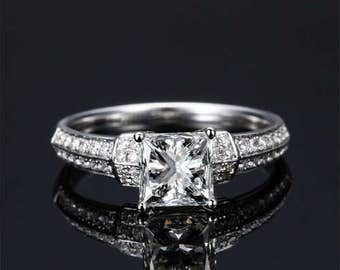 Princess Cut Moissanite Engagement Ring 14k White Gold Forever One Moissanite Ring Diamond Engagement Ring Art Deco Charles & Colvard