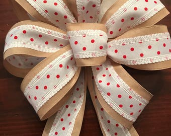 Red Polka Dot and Burlap Bow