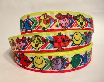 "1/3/5/10 Yards - 7/8"" Mr. Men Little Miss Grosgrain Ribbon Nostalgic Reading 80s 90s DIY Key Fob Lanyard"