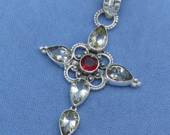Natural Citrine & Garnet Cross Pendant - Sterling Silver - P161525 - Free Shipping to the USA