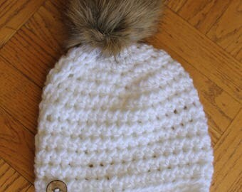 Soft White Slightly Slouchy Beanie