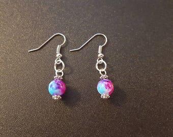 Pink, purple, blue, white & silver beaded earrings