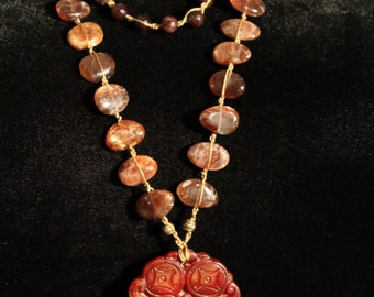 Double Happiness Red Jade Chinese Bat Amulet Necklace