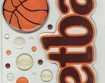 Basketball Title  Scrapbook Stickers Cloud 9 Rain Dots Embellishments Cardmaking Crafts