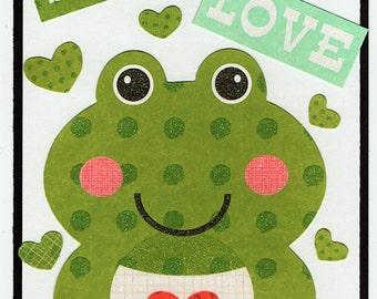 Frog Love Valentine Paper Piecing Premade Scrapbook Card