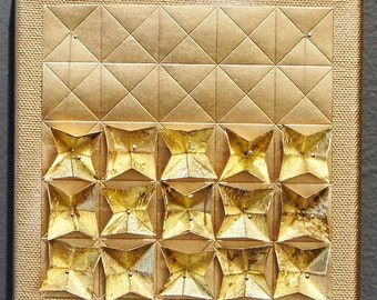 Origami Paper Art - Gold Metallic Wall Hanging - Limited Edition