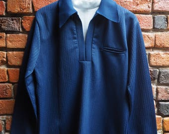 70s Navy Blue Long Sleeve Top Shirt With White Roll Neck Turtleneck Collar Size Large