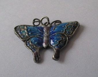 Sterling Silver Blue Butterfly Pendant