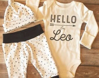 Hello World Little Star Coming Home Outfit, Baby Name Outfit, Custom Baby Outfit, Black and White Outfit, Going Home Outfit, Baby Boy gift