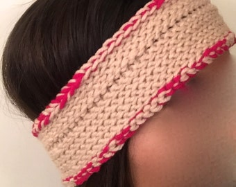 Beige and Fuchsia Crochet Headband