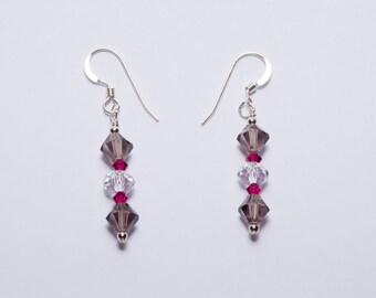 Smoke and Ruby Swarovski Crystal Earrings