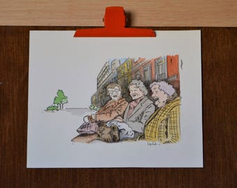 The little old ladies who laugh - original watercolor illustration