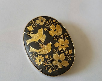 Vintage Damascene Brooch, Gold Tone, Damascene Pin, Vintage Pin, Birds, Flowers, animal, nature, figural, classic jewelry, accessory