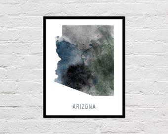 Arizona Map Print, Printable Arizona State Map, Arizona Art Print, Arizona Wall Art, Watercolor Map, Arizona Poster, Digital Download