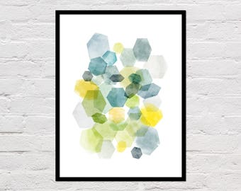 Hexagon Art Print, Abstract Art, Blue & Green Watercolor, Geometric Prints, Minimalist Poster, Wall Art, Modern Art Print, DIgital Download