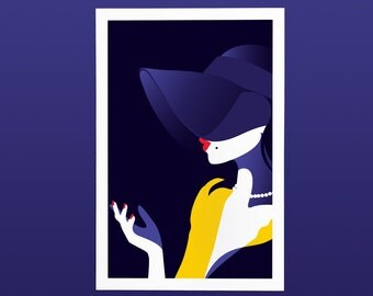 Art Print Woman, Hat, Style, Illustration, Red Lips, Shadows, Poster, Elegant Mystery, Lady. Blue, purple, red, yellow + white. Home Decor.