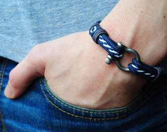 Blue Sailor Bracelet, Men Bracelet, Rope Bracelet, New Nautical Bracelet, Blue And White Marine Bracelet, Sailor Bracelet, Bracelet for Men