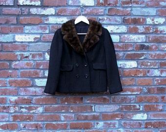 ON SALE Vintage Designer Fur Collar Jacket