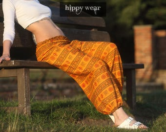 Harem Aladdin Genie Gypsy Hippie Pants Loose Yoga Ladies Yellow Ohm Om Aum Pattern Baggy Cotton Colourful Summer Festival Maternity India