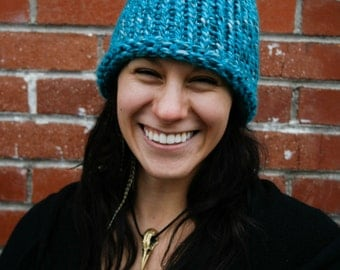 Knit Hat - Turquoise/white blend