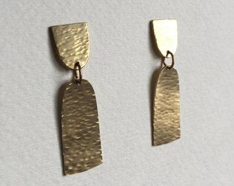 Hammered Arch Brass Earrings