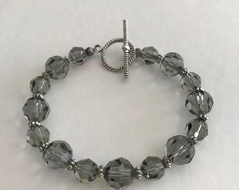 Swarovski Crystal Bracelet, Black Diamond Swarovski Bracelet, Black Bracelet, Crystal Bracelet, Bridesmaid Gift, Handcrafted Bracelet