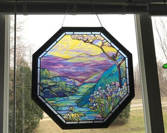 Octagonal Framed Large Stained Glass Panel ~ Louis C. Tiffany reproduction ~ Beautiful suncatcher!