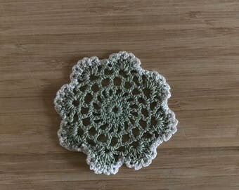 Crochet Doily, 3.25 Inch Doily, Cute and Small Doily, White and Sage Green Doily, Japanese Lace Doily - Doilies handmade for you