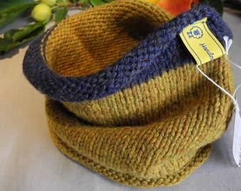 Knitted neck warmer // Infinity scarf // Gift idea // Snood // Cowl // tikuchi // Mustard // Blue