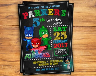 PJ Masks Invitations - PJ Masks Birthday Party Invitation - Digital File - Printable - Amaya/Owlette - Connor/Catboy - Greg/Gekko