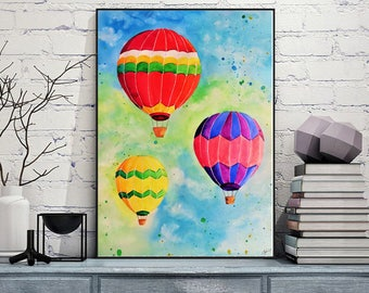 Instant Download Balloons Watercolor painting Hot air balloons Printable Colorful Balloons Art print Nursery decor Colorful Watercolor print