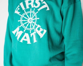 Vintage Clothing / Turquoise Pullover Sweatshirt / 80s Women's Small Sweatshirt / Turquoise First Mate Summer Pullover Nautical