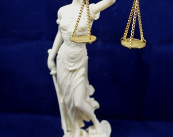 Themis sculpture  Goddess of Justice artifact Alabaster statue