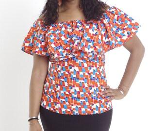 Discount African Print Shoulder Top Ankara Wax clothing