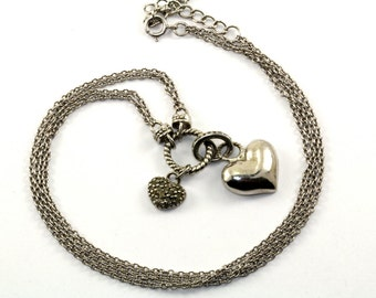 Vintage Double Heart Tags Pendant Double Chain Toggle Necklace 925 Sterling Silver NC 527