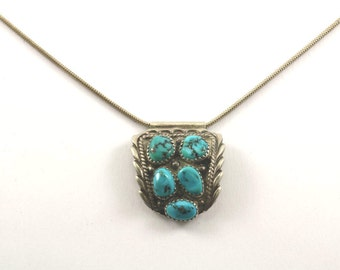 Vintage Navajo Turquoise Stone Necklace 925 Sterling Silver NC 682