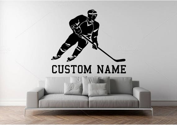 Custom Name Hockey Player Wall Decal - Personalized Hockey Player Name  - Kids Room Wall sticker - Home Decor - Sport Wall Decal