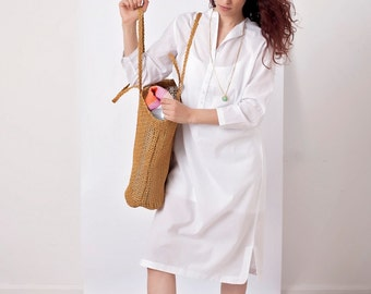 Ruth midi shirt dress – White