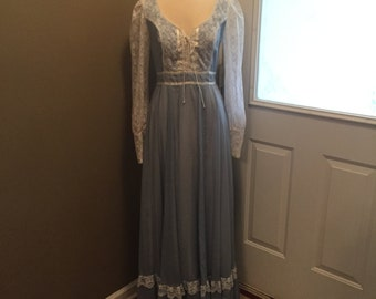 Vintage Light Blue Gunne Sax Dress 1970s