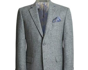 Classic Light Grey Tweed Sports Blazer